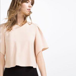 Zara Crop Blouse Flutter Sleeves